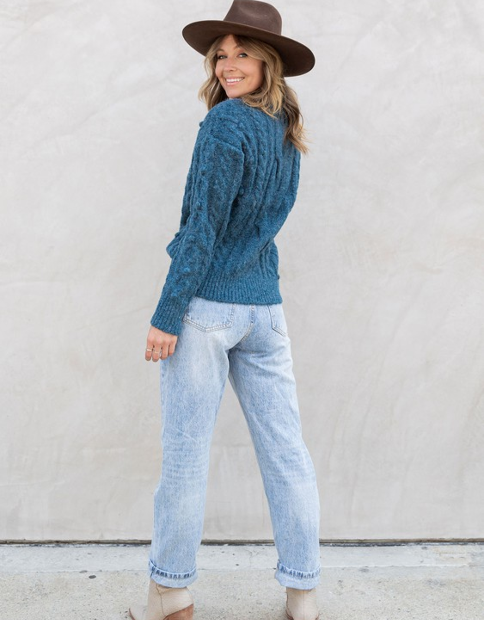 Love Stitch Teal Dolman Sleeve Cable Knit Sweater