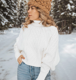 Love Stitch White Dolman Sleeve Cable Knit Sweater