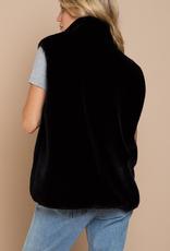 POL Black Faux Fur Vest