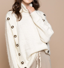 POL Ivory Button Detail Sweater