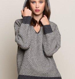 POL Gray Striped Cozy Sweater Hoodie