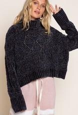 POL Cropped Turtleneck Sweater