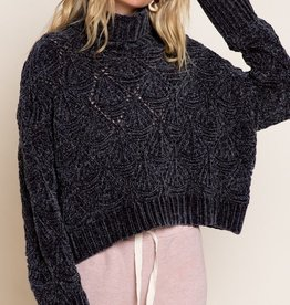 POL Cropped Turtleneck Sweater
