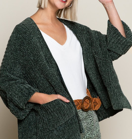 POL 3/4 Sleeve Slouchy Cardigan in Pine