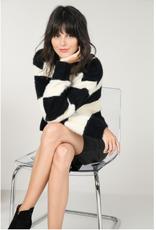 Molly Bracken Black and White Fuzzy Striped Sweater
