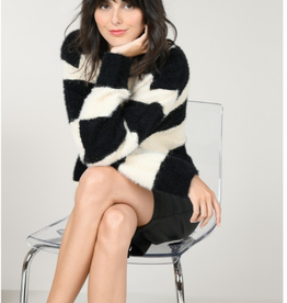 Molly Bracken Black and White Fuzzy Striped Sweater