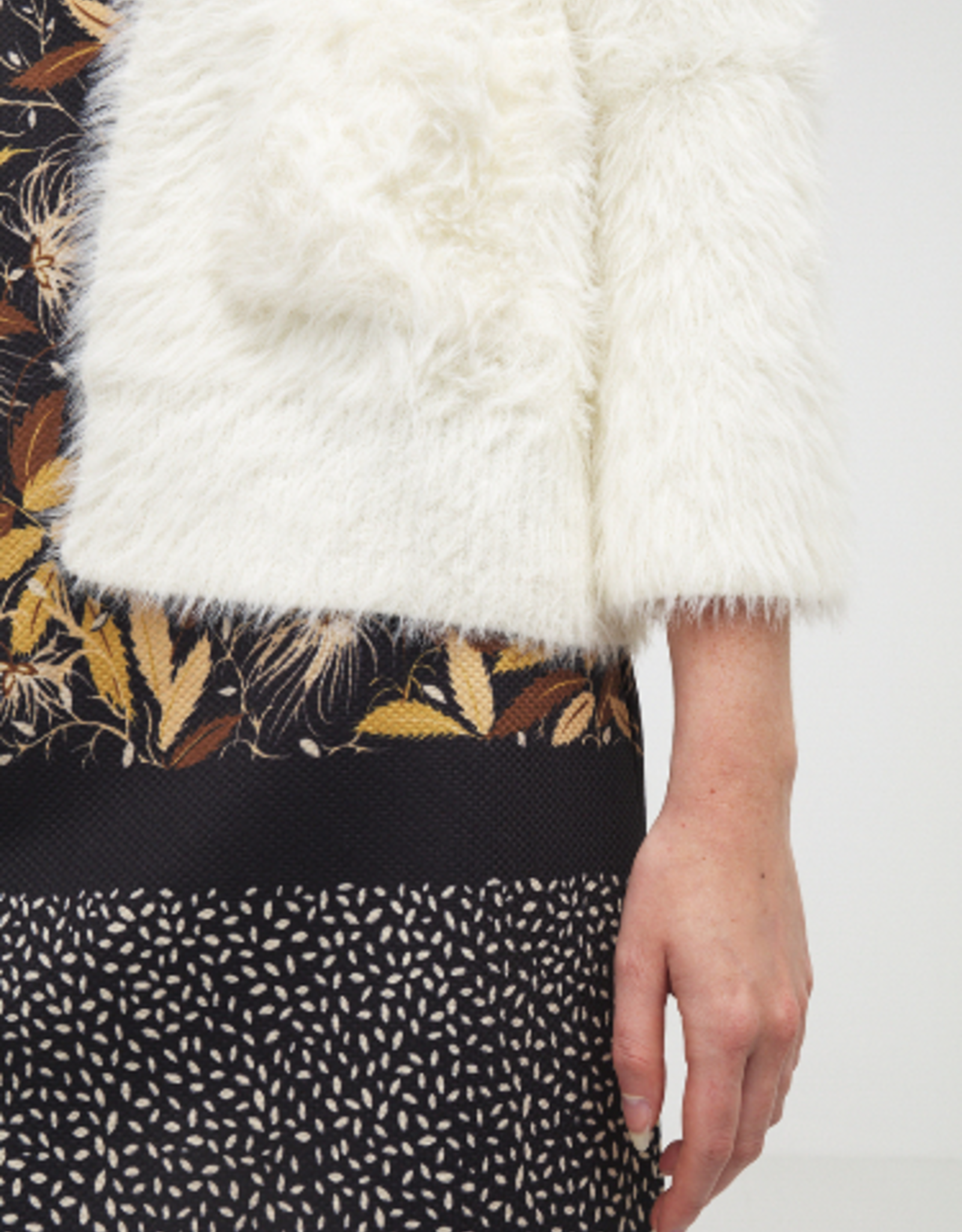 Molly Bracken Faux Furry 3/4 Sleeve Sweater Jacket