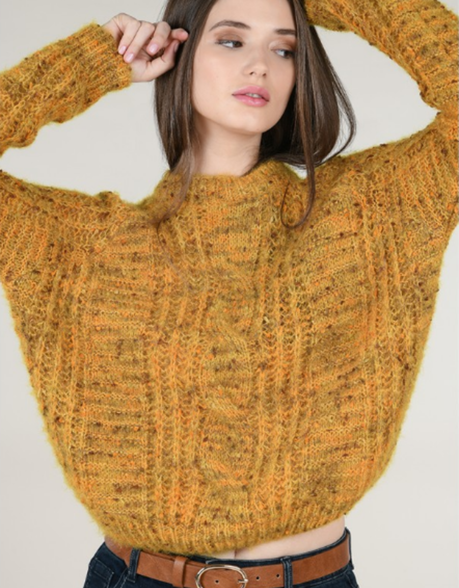 Molly Bracken Yellow Confetti Knit Crew Neck Sweater
