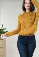 Molly Bracken Yellow Confetti Knit Crew Neck Sweater