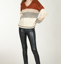 Molly Bracken Sequined Colorblock V Neck Sweater