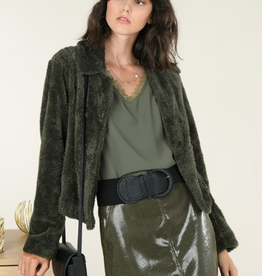 Molly Bracken Cropped Faux Fur Jacket in Green