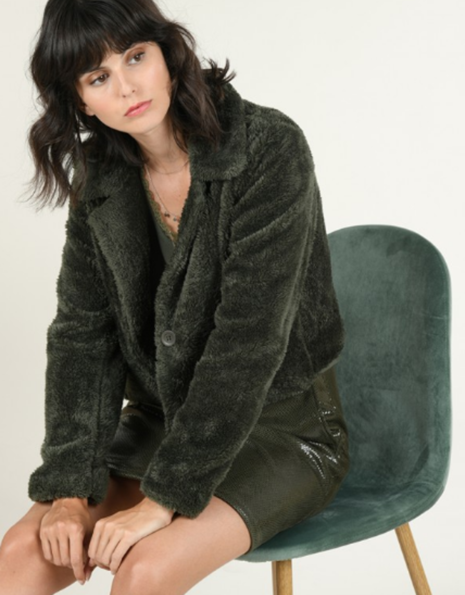 Molly Bracken Cropped Faux Fur Jacket in Green