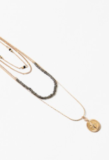 Blue Suede Jewels Gold Compass Layered Necklace