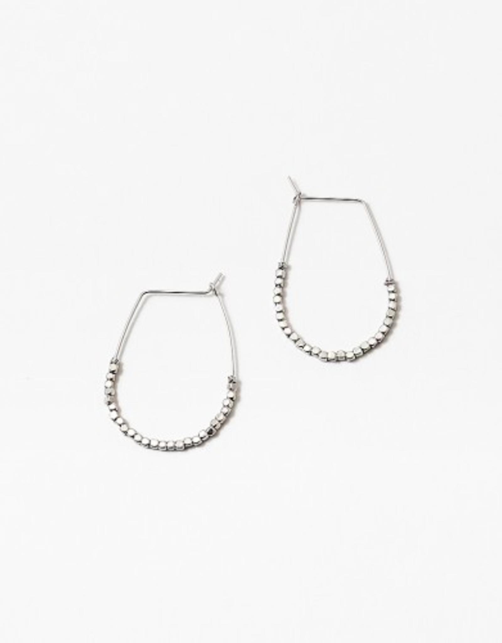 Blue Suede Jewels Beaded Oval Earring
