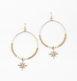 Blue Suede Jewels Gold Starburst Hoop Earring