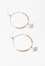 Blue Suede Jewels Gold Starburst Hoop Earring