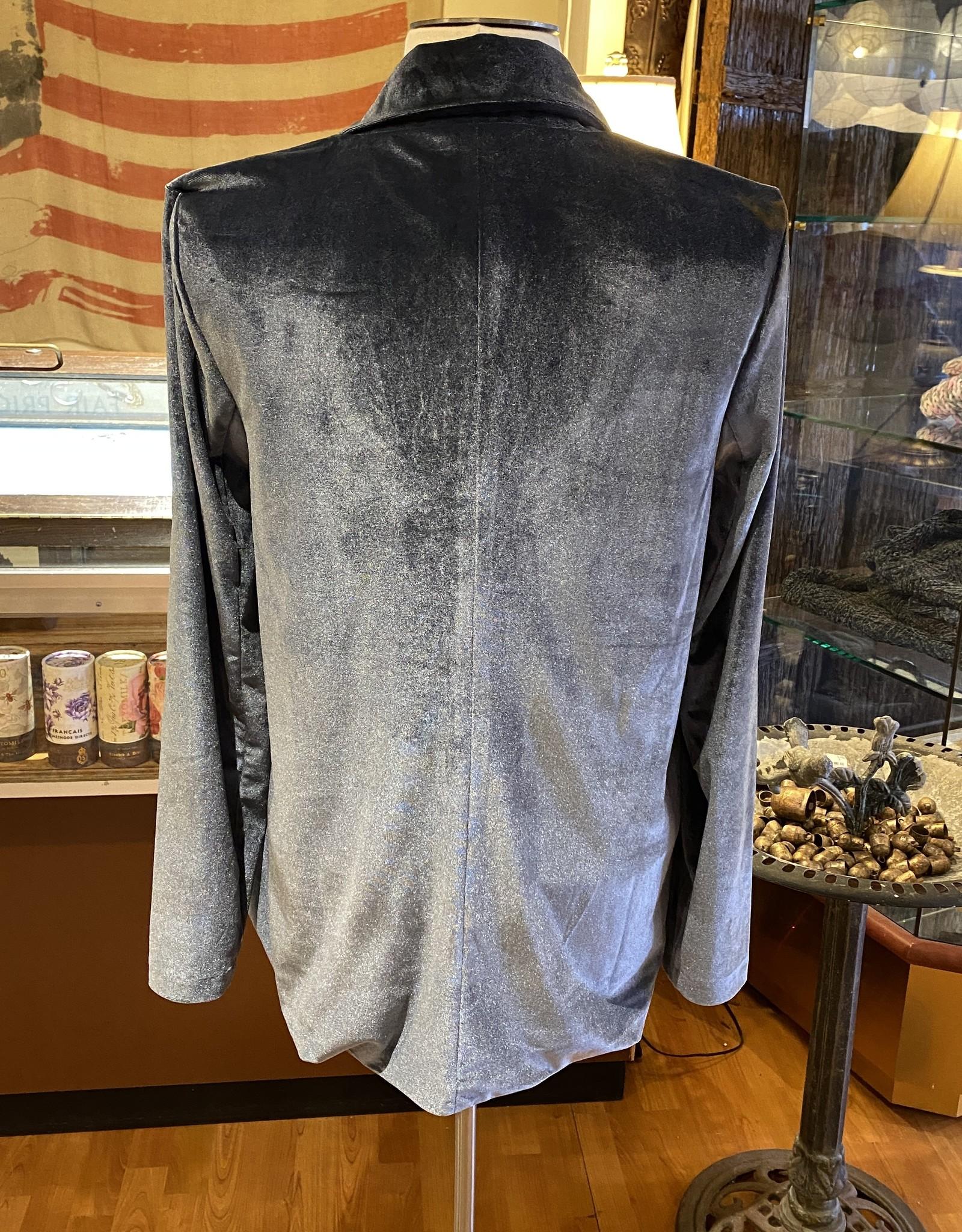 Bobi Slate Blue Velvet Blazer