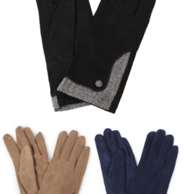 Look By M Herringbone Trim Gloves
