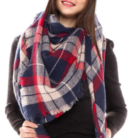 Blue Suede Jewels Tartan Plaid Blanket Scarf Navy Red