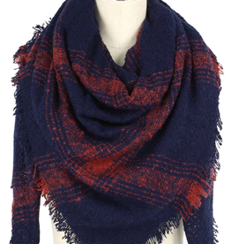 Blue Suede Navy Plaid Blanket Scarf