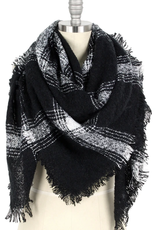 Blue Suede Black Plaid Blanket Scarf