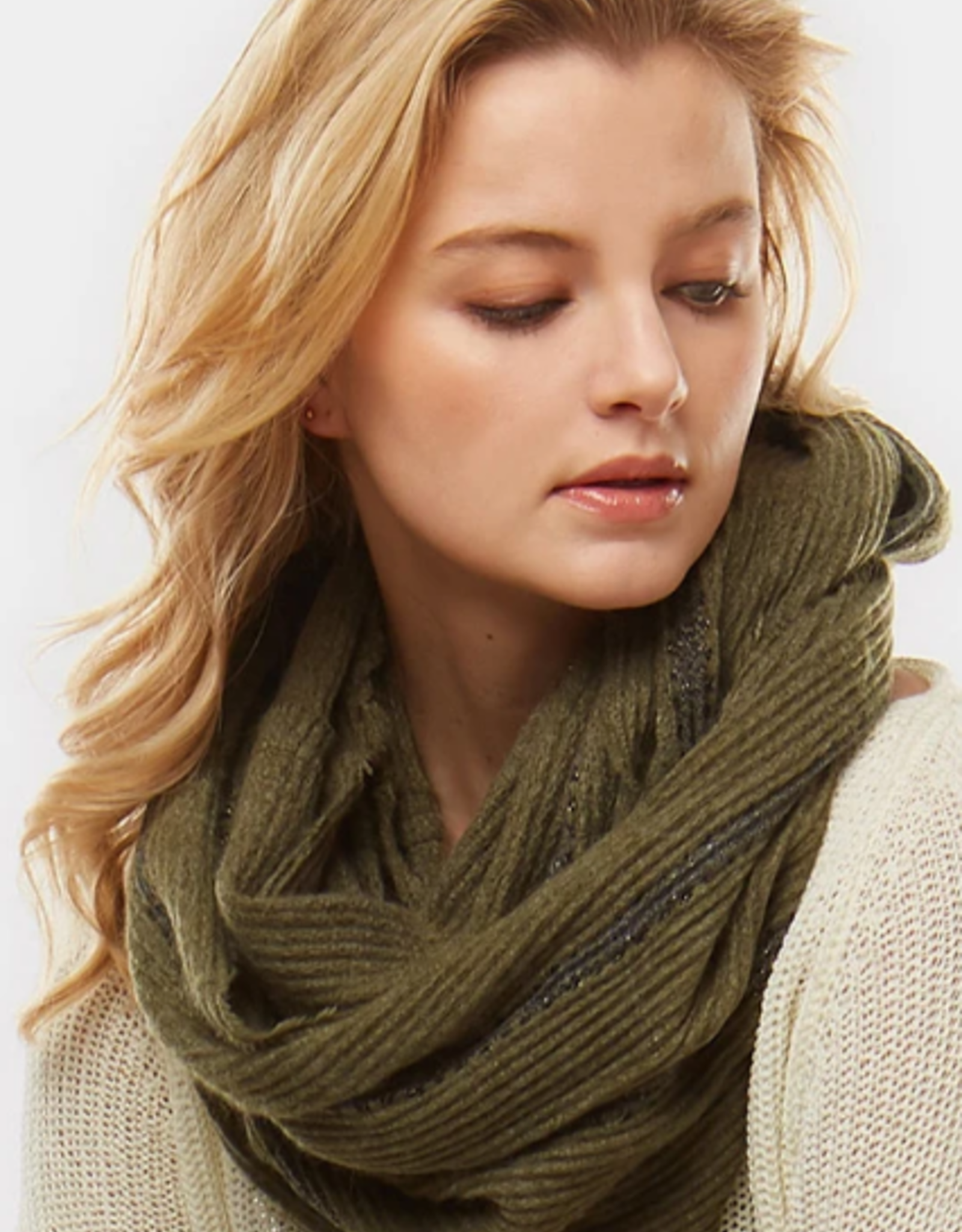 Blue Suede Striped Boucle Infinity Scarf