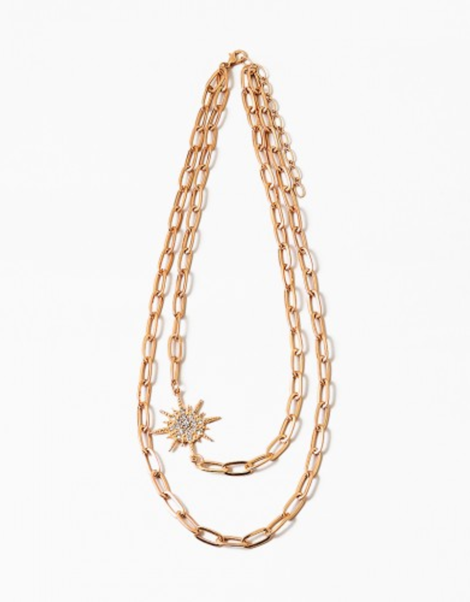 Blue Suede Jewels Layered Chain Starburst Necklace