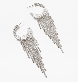 Blue Suede Jewels Crystal Fringe Hoops