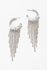 Blue Suede Jewels Crystal Fringe Hoops