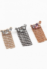 Blue Suede Jewels Rhinestone Curtain Earrings