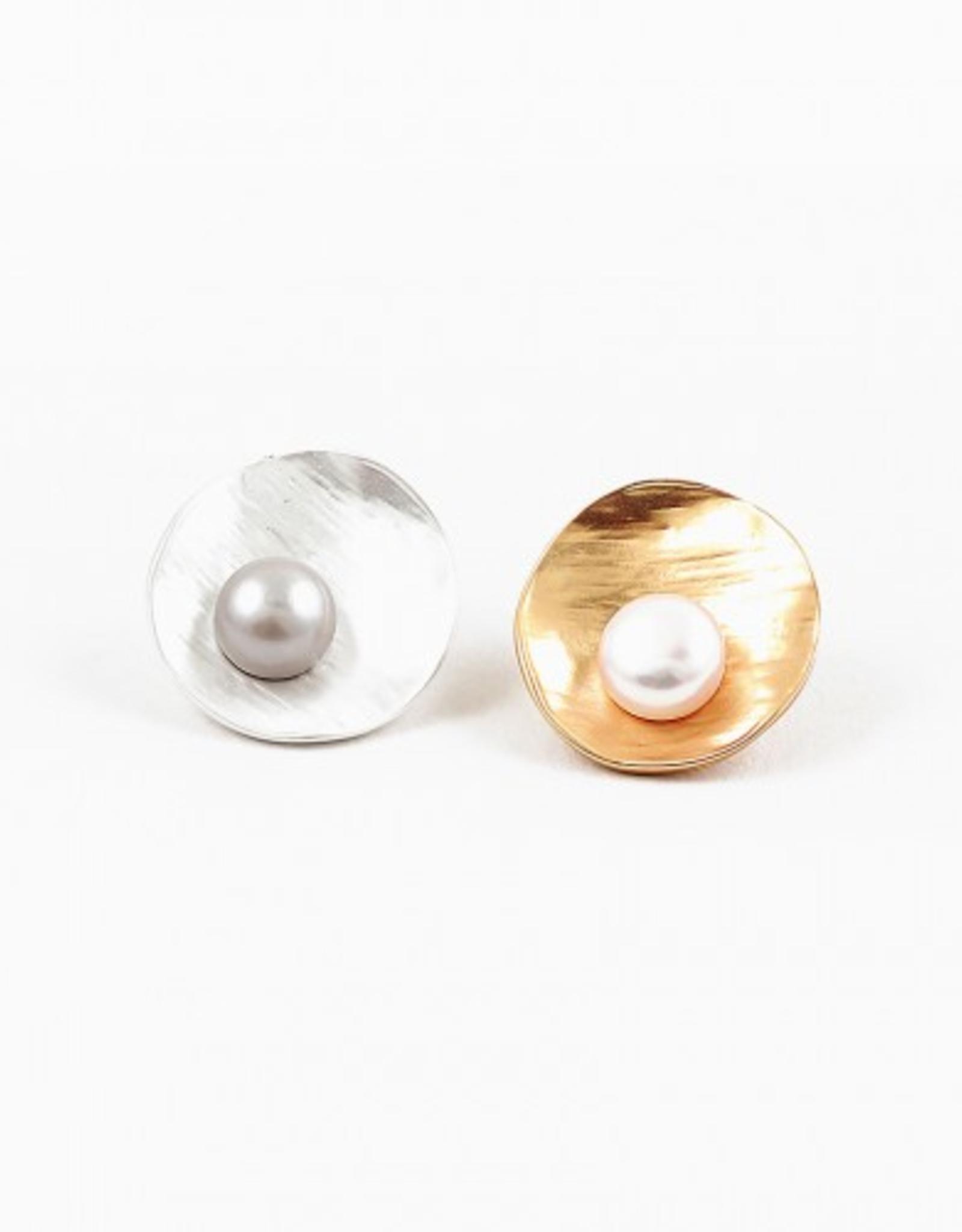 Blue Suede Jewels Pearl & Matte Metal Stud Earring