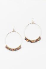 Blue Suede Jewels Rainbow Beaded Hoop Earring
