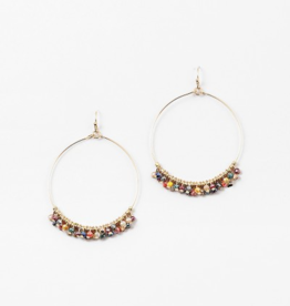 Blue Suede Jewels Rainbow Beaded Hoop Earring