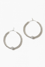 Blue Suede Jewels Crystal Beaded Hoop Earrings