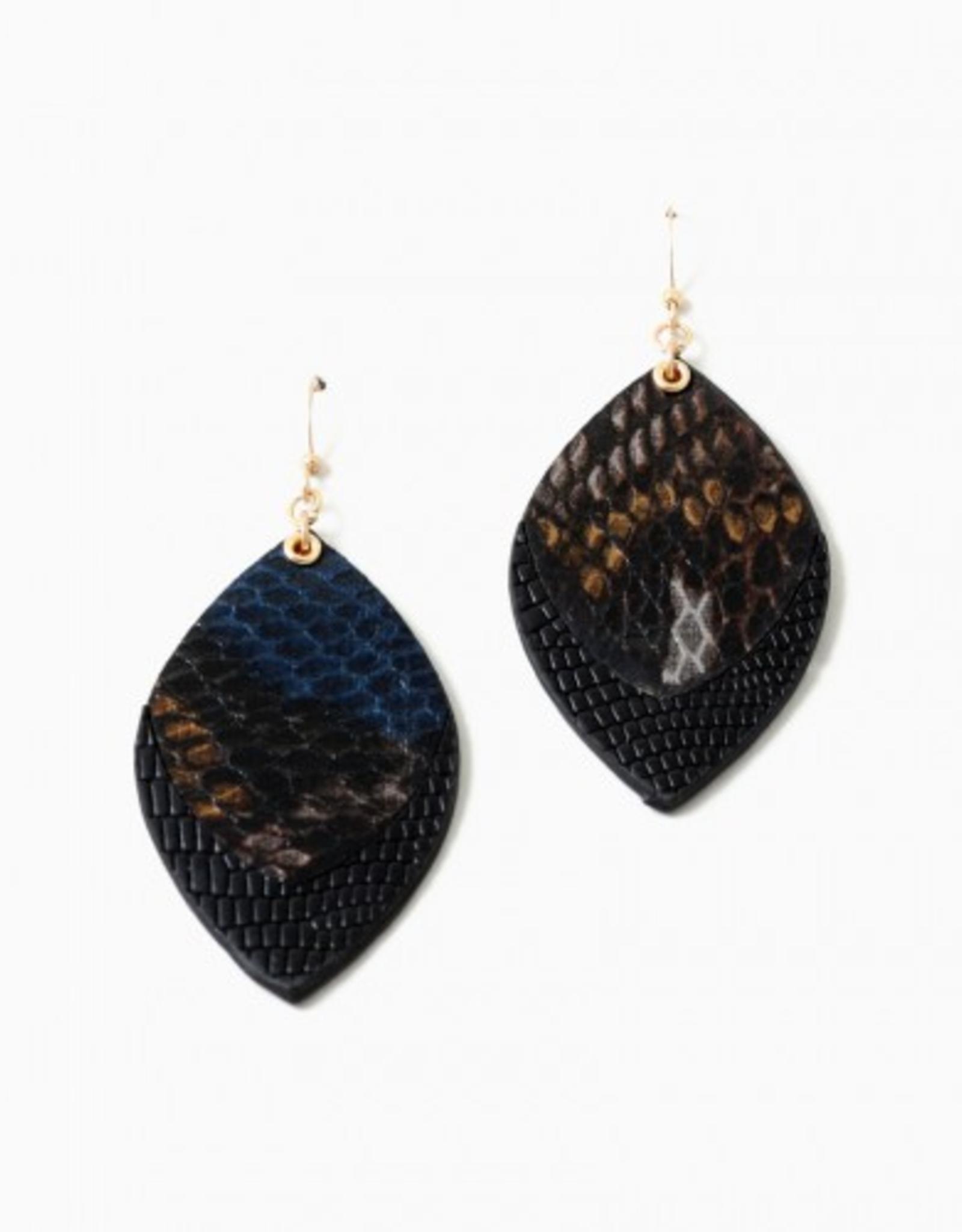 Blue Suede Jewels Leather Snake Skin Earrings