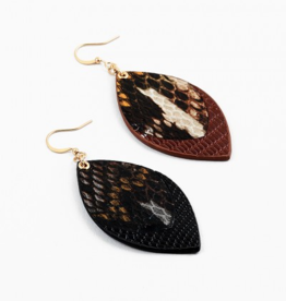 Blue Suede Jewels Leather Snake Skin Earrings