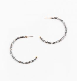 Blue Suede Jewels Silver Beaded Hoop Earring