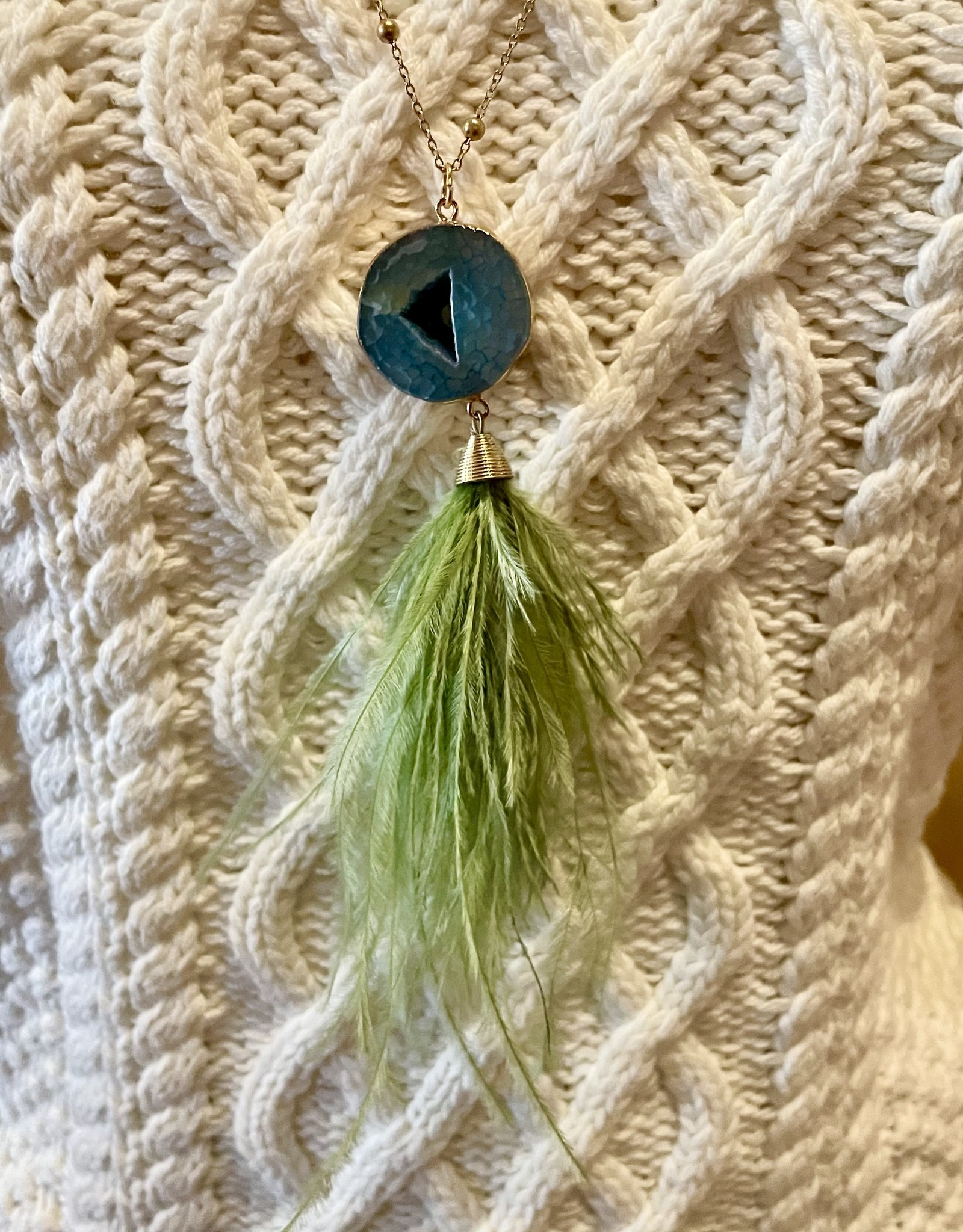 Sweet Lola Green Feather and Natural Gemstone Druzy Necklace