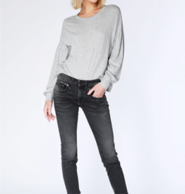 Bobi Gray Drop Shoulder Long Sleeve Tee
