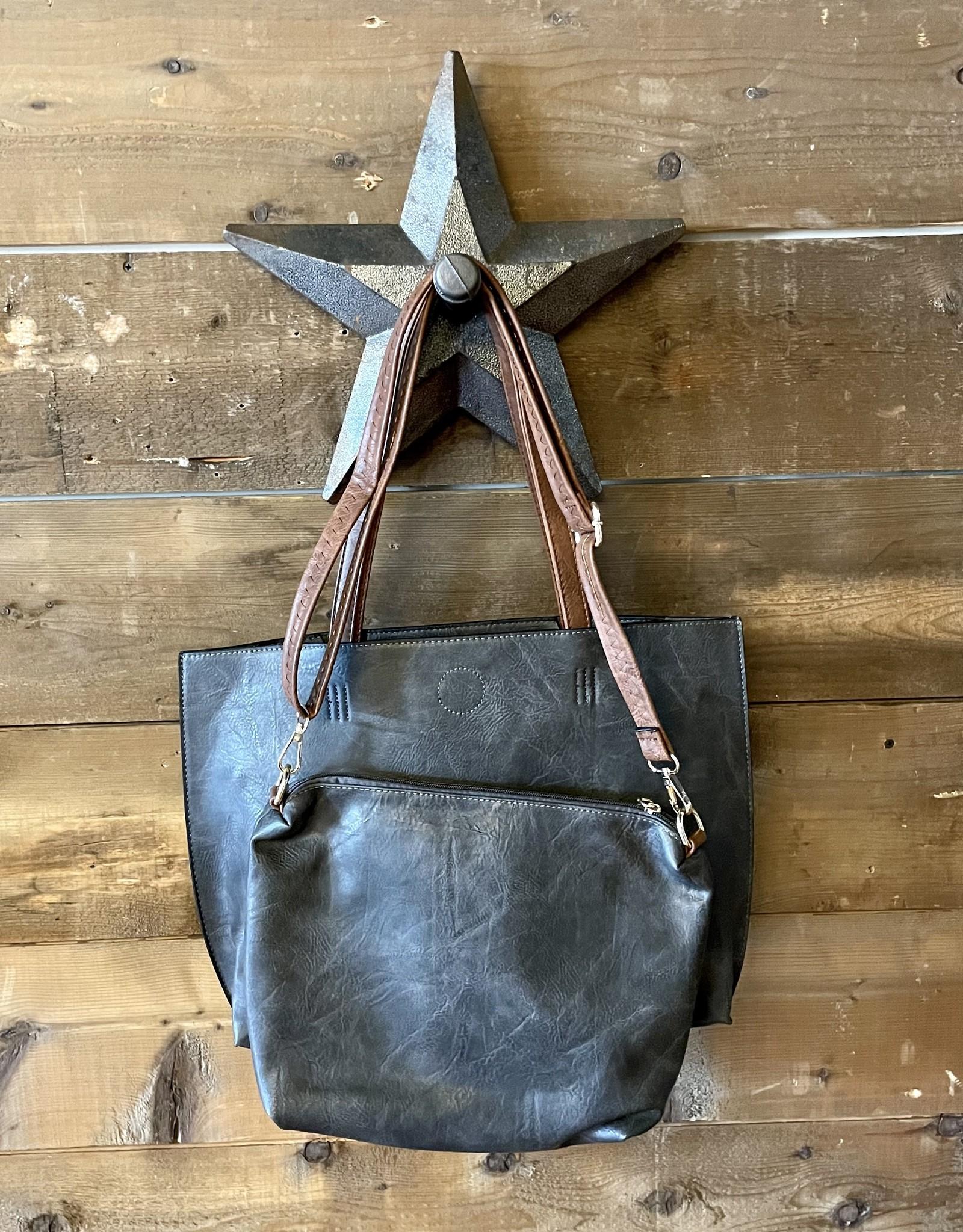 Blue Suede Tote Bag with Additional Shoulder Bag