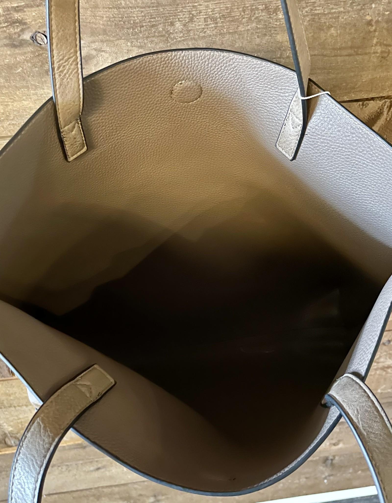 Blue Suede Contrast Tote Bag with Additional Shoulder Bag and Tassel