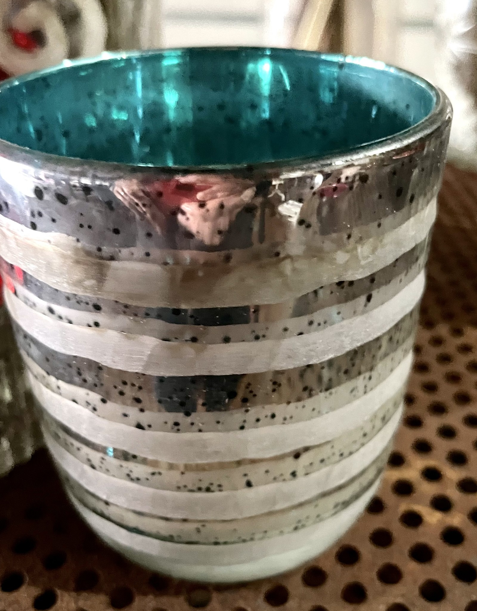 One Hundred 80 Degrees Striped Turquoise Votive Candle Holder