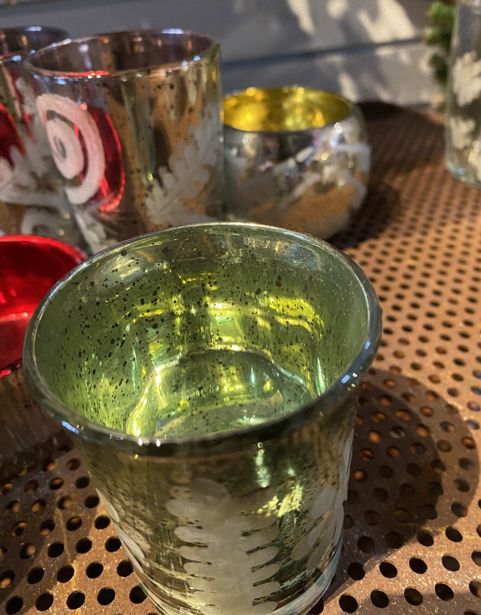 One Hundred 80 Degrees Small Green Votive Candle Holder
