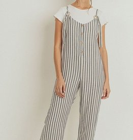 Papercrane Striped Button Down Pocket Jumpsuit