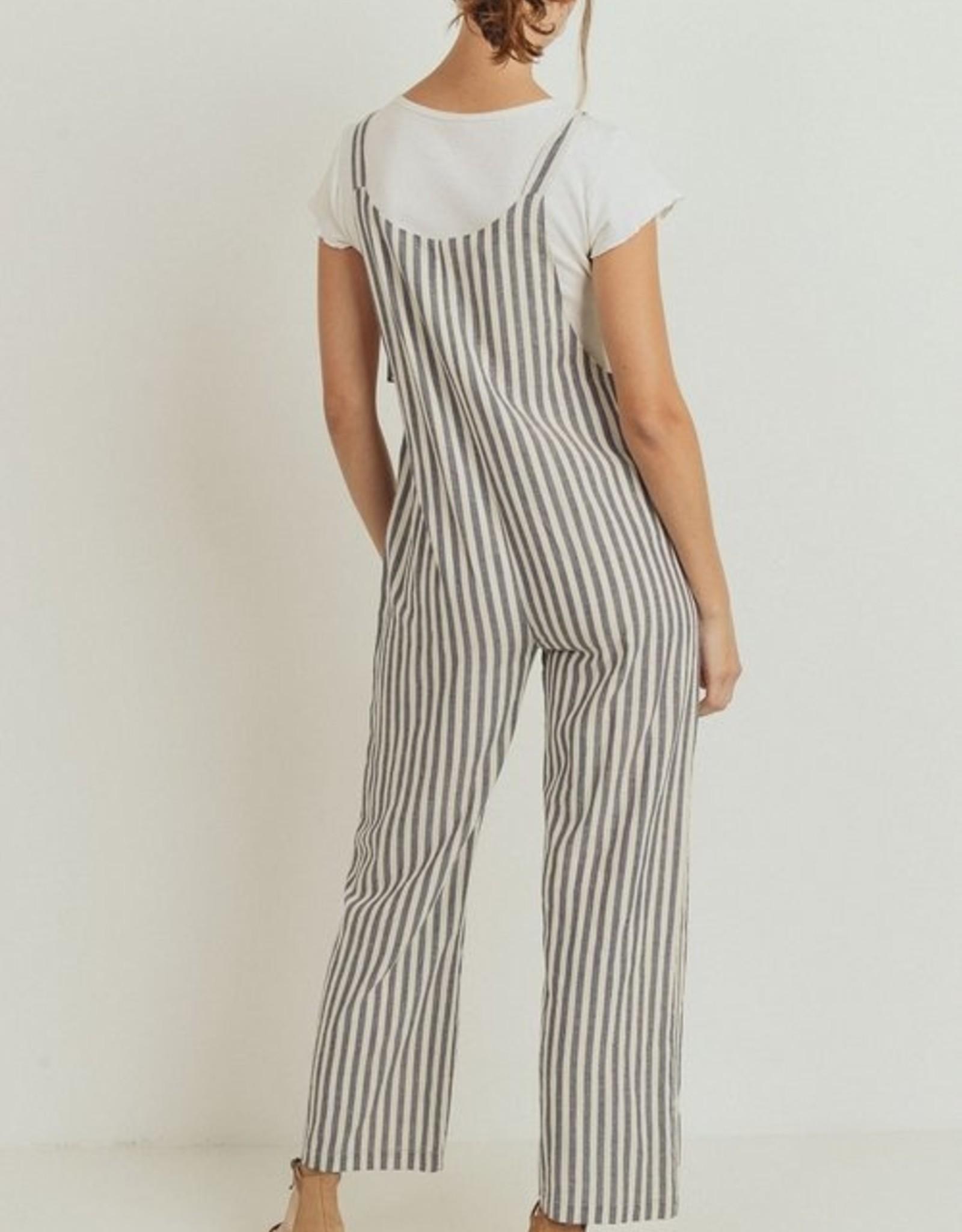 Papercrane Striped Button Down Pocket Jumpsuit