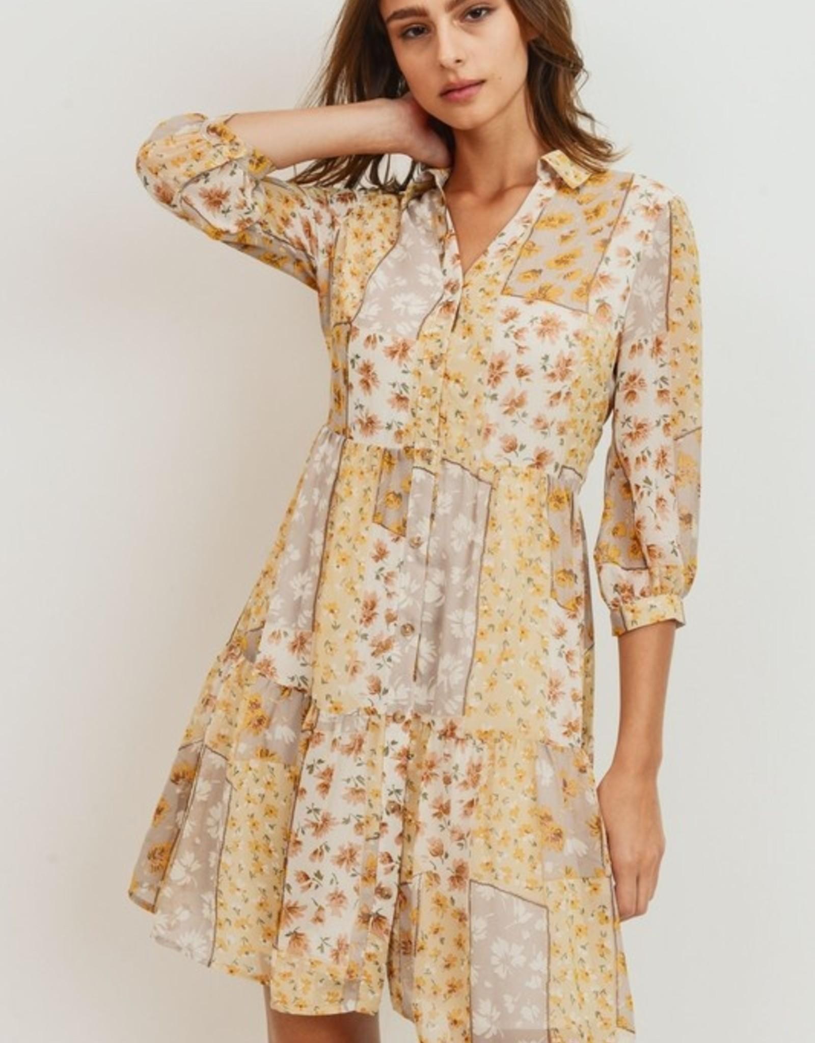 Papercrane Floral Patch Print Can Can Dress