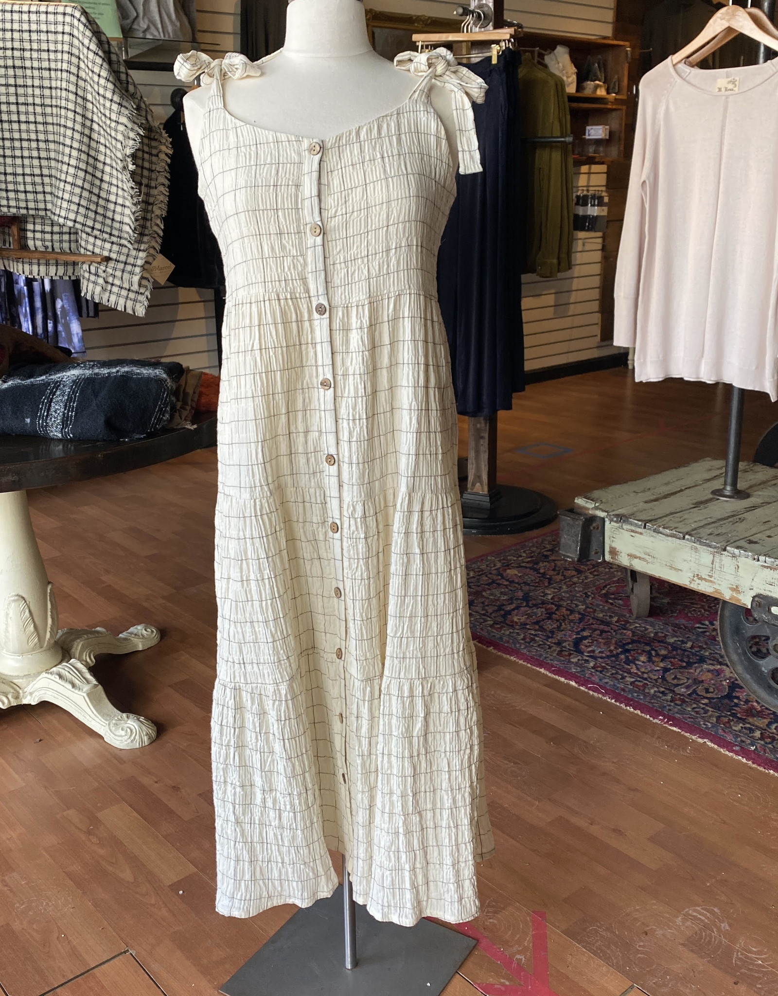 Papercrane Checkered Button Down Shoulder Tie Dress