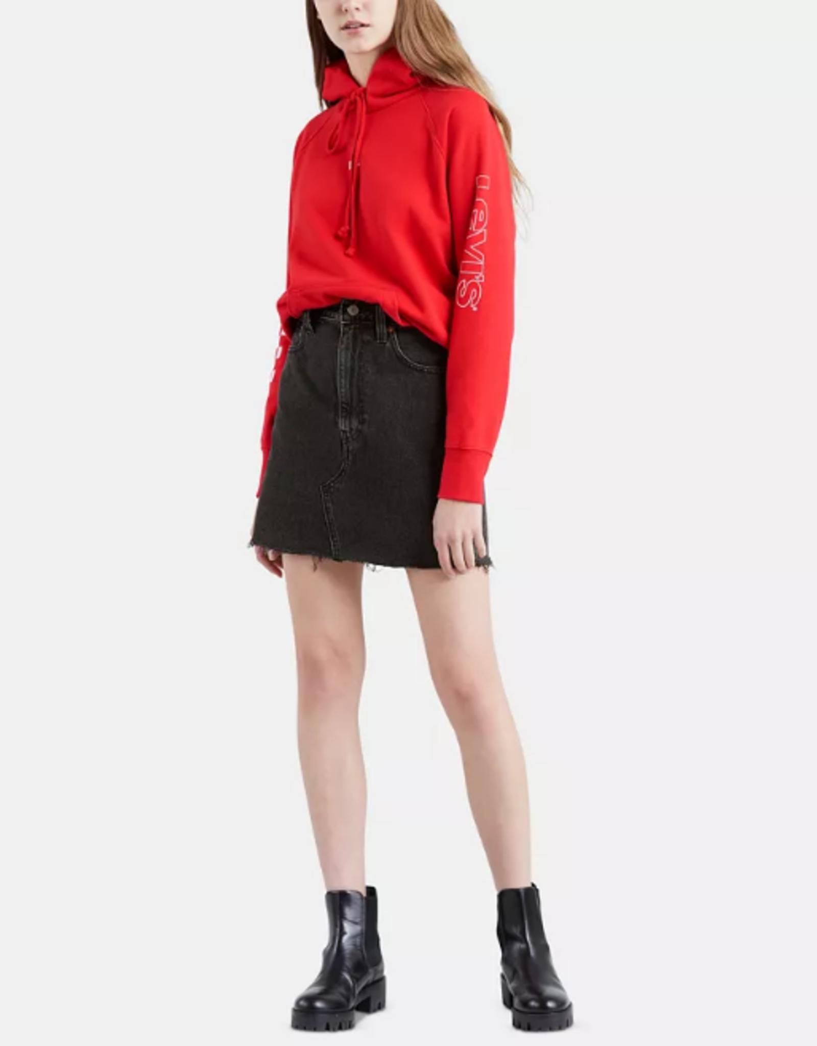 Levi's Iconic Cotton Denim Mini Skirt In Turn (Washed Black)