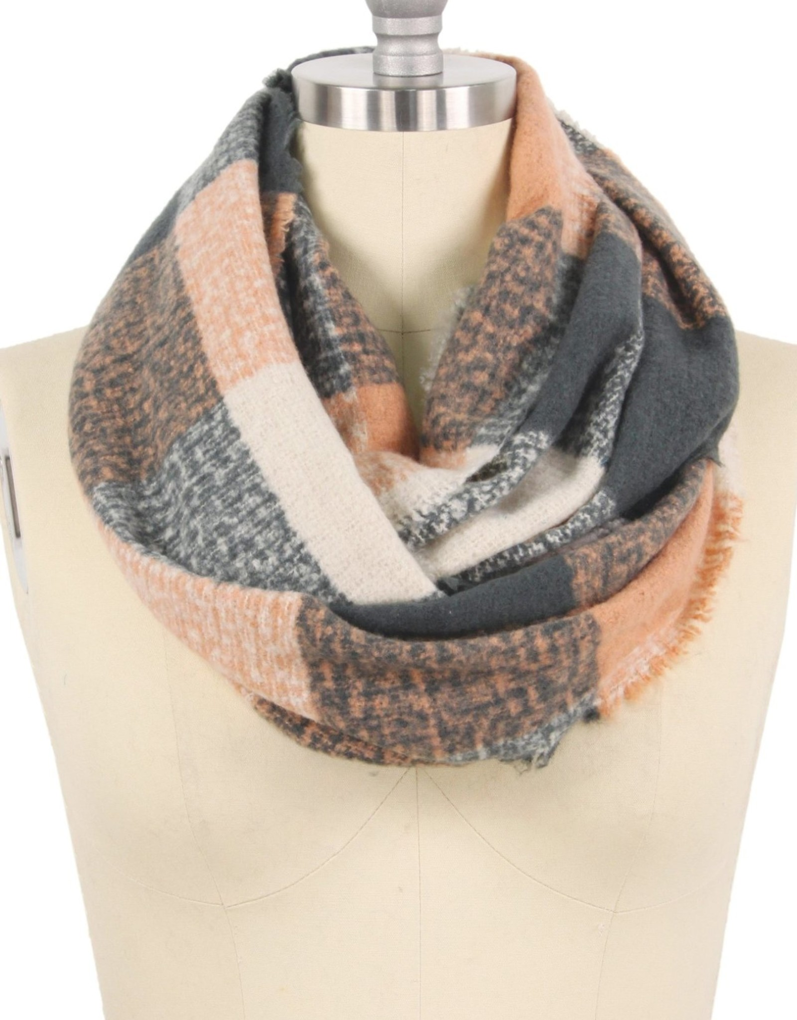 Blue Suede Plaid Check Infinity Scarf