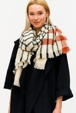 Blue Suede Plaid Scarf with Contrast Stripe